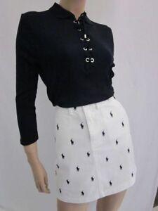 Polo Ralph Lauren White Skirt Multi Navy Blue Ponies NWT