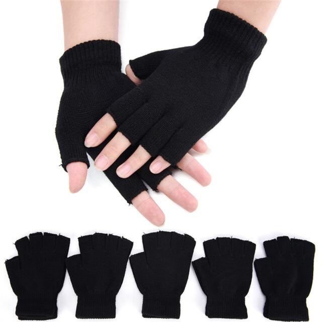 Men Black Knitted Stretch Elastic Warm Half Finger Fingerless Gloves WinterYUYU