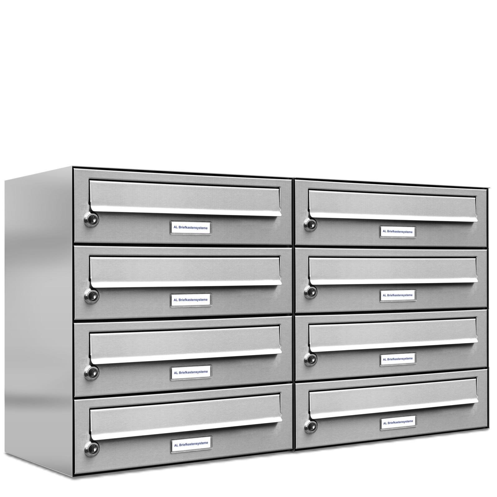 8 er Premium Edelstahl 2x4 Wand Briefkasten Anlage A4 Postkasten Fach Anordng.