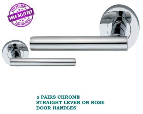 5 PAIRS CHROME T-Bar Round Rose INTERIOR Door Handles Rosetta D12