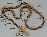 Holy Land ROSARY Round Olive Wood Beads, Jerusalem Wooden Cross Prayer Necklace