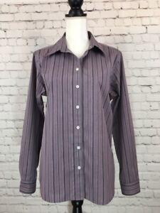 Eddie-Bauer-Womens-Dress-Shirt-Size-Large-Purple-Stripe-Long-Sleeve-Button-Up