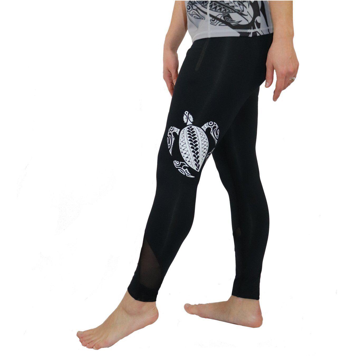 Ori Active Honu (Hawaiian Green Sea Turtle) Tattoo Yoga Pants with Mesh