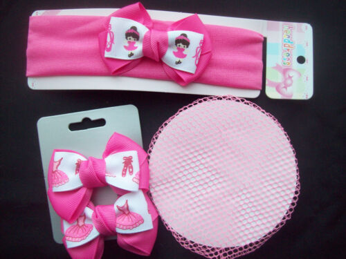 Girls Ballerina Hair Accessory Set Bun Net 2 clips and headband with bows NEW