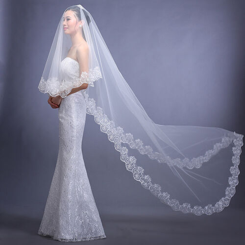 White//Ivory Cathedral Length Lace Edge Bride Wedding Bridal Veil Long Trails 3M