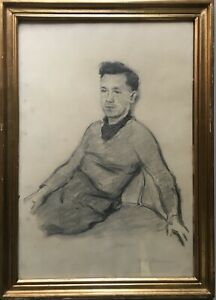 Young-Man-soresen-signed-in-Gilt-Frame-Charcoal-drawing-49-x-35-5