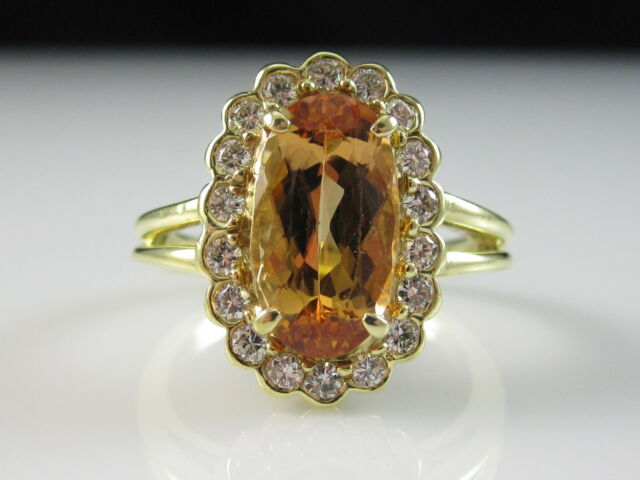 18K Imperial Topaz Diamond Ring Yellow Gold Fine Jewelry G/VS Estate Oval Size 8