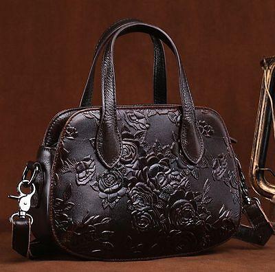 New Women Genuine Cow Leather Shoulder Messenger Bag Embossed Purse Handbag S