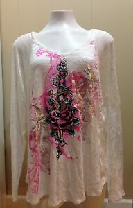 SELF-ESTEEM-Women-039-s-PLUS-SIZE-2X-Knit-Top-Ivory-Foil-Decal-V-Neck-Long-Sleeves