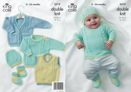King Cole DK  Knitting Pattern 3319 Sweater,Tank Top,Cardigan,Boots /& Hat