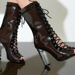 1f9a9f8a17e Details about Last 6, 8 & 10 🖤 Black Trasparent Clear Perspex Glass Heel  Lace Up Ankle Boot