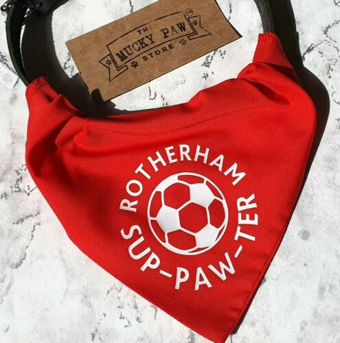 2 sizesFootball gift for cat dog or owner Rotherham Pet Shirt BandanaRed