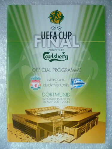 2001 UEFA Cup Final Programme LIVERPOOL v DEPORTIVO ALAVES, 16 May Org