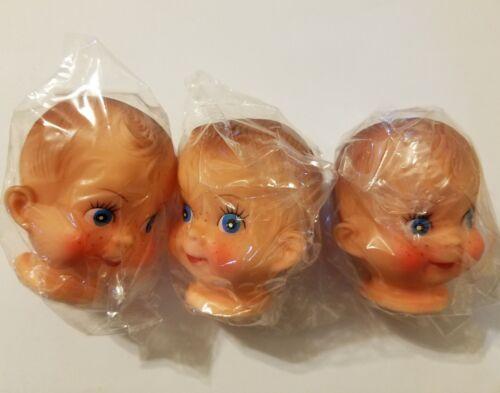 "Lot 3 Vintage Fibre Craft Darice 3/"" Vinyl Baby Doll or Boy Male Child Heads"