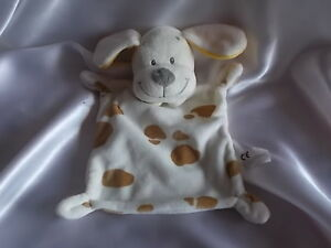 Doudou-chien-blanc-taches-marrons-Nicotoy-Blankie-Lovey-Newborn-toy