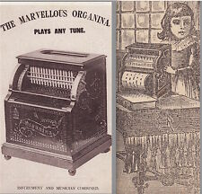 Organina Antique Organette 1800s American Automatic Organ Music Advertising Card