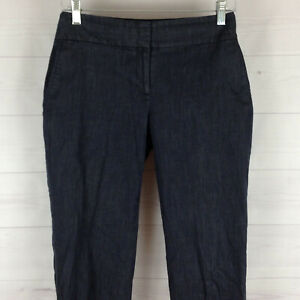 Ann-Taylor-LOFT-Julie-womens-size-6-stretch-navy-blue-flat-front-crop-pants-EUC