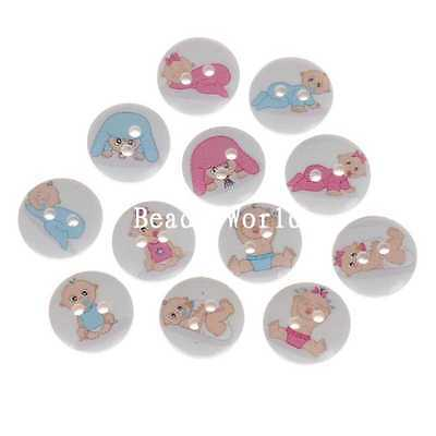 100 Pcs Wood Sewing Decorative Buttons Scrapbooking Baby Series Pattern 15mm