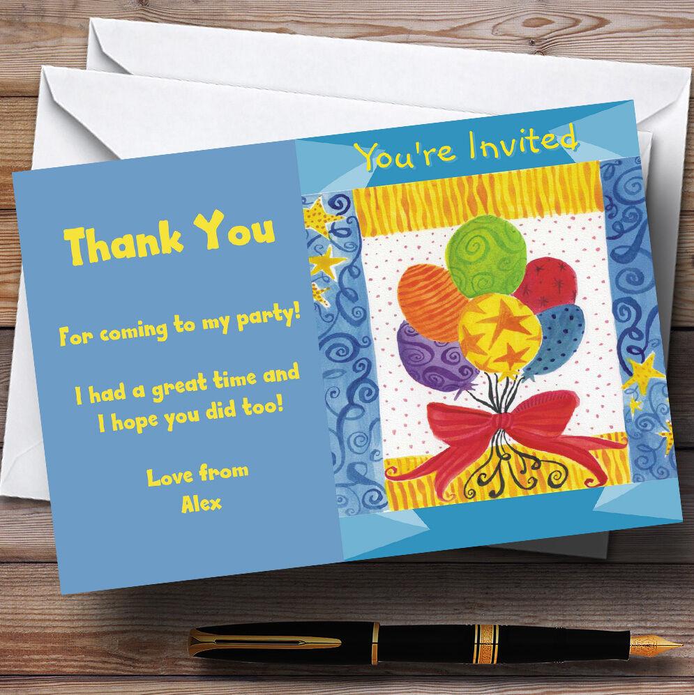 Bleu, jaune, Fête rouge Ballons Fête jaune, personnalisés vous remercier cartes 5d8d17
