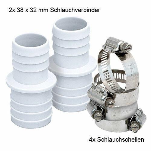 2x Schlauchverbinder Poolschlauch 4x V2A Edelstahl Schlauchschellen Pool Set