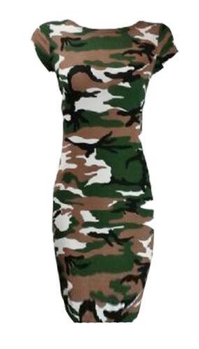 Womens Cap Sleeve Ladies Midi Dress Printed Jersey Stretch Bodycon UK Size 8-26