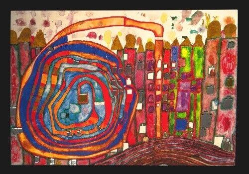 "Kunstkarte Hundertwasser /""Who has eaten all my Windows/"""