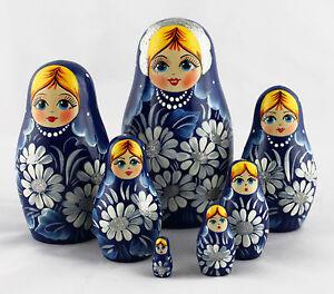 Blue-Russian-Matryoshka-Wooden-Nesting-Dolls-Russia-Souvenirs-Decor-Collectible