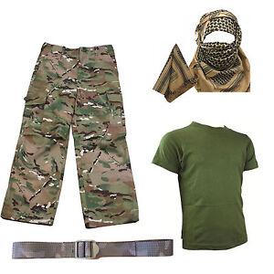 Shirt Pants Shemagh BELT Soldier Dress Up Kids Pack 2 HMTC MTP MultiCam Match