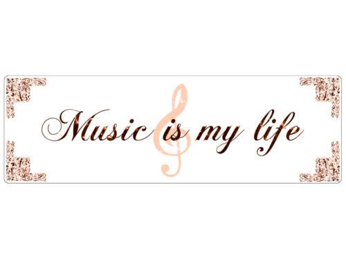 METALLSCHILD Shabby Vintage Blechschild Türschild MUSIC IS MY LIFE Geschenk