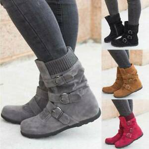 Womens-Winter-Warm-Ankle-Boots-Ladies-Fur-Snow-Buckle-Flats-Suede-Shoes-Size-9