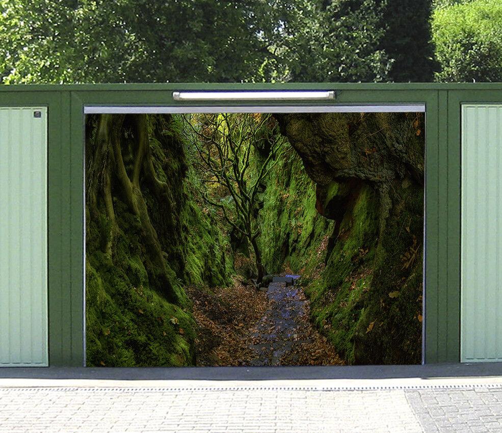 3D Cliffs Grün Trees 4 Garage Door Murals Wall Print Wall AJ WALLPAPER UK Lemon