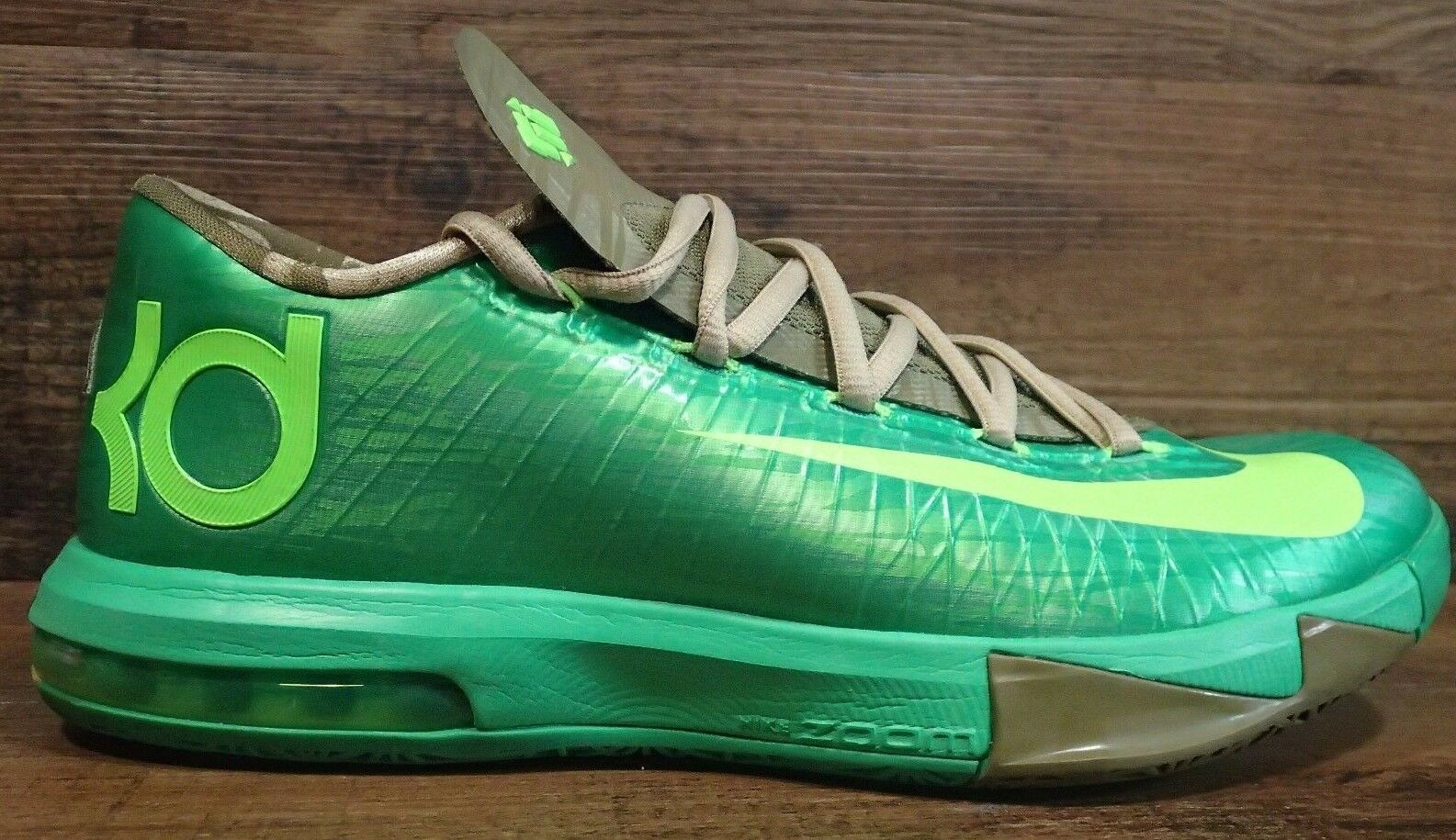NIKE MENS KD KEVIN DURANT 6 SHOES FLASH LIME BAMBOO BASKETBALL SHOES 6 599424 301 SZ 8 23c050