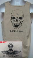 Usmc Force Recon Tank Top/ Skull Double Tap/ Marines/ Military/ Veteran T-shirt
