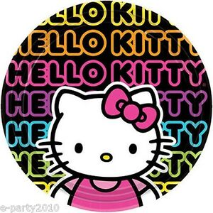 Hello Kitty Neon Tween Large Plates 8 Birthday Party Supplies