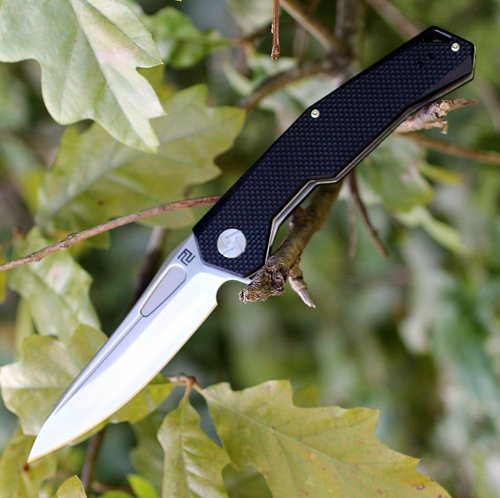 Atz 1808 pbkf artisan Zumwalt d2 Plain Blade Flat negro g-10 handle linerlock clip