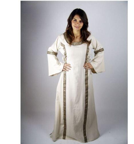 Mittelalter Reenactment Larp Gewandung S-XXXL  natur Kleid Magd  Gewand Hochzeit