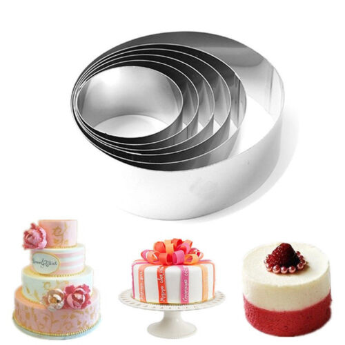 Stainless Steel 6pcs Round Mousse Cake Ring Mold Cookie Cutter Baking Tools New