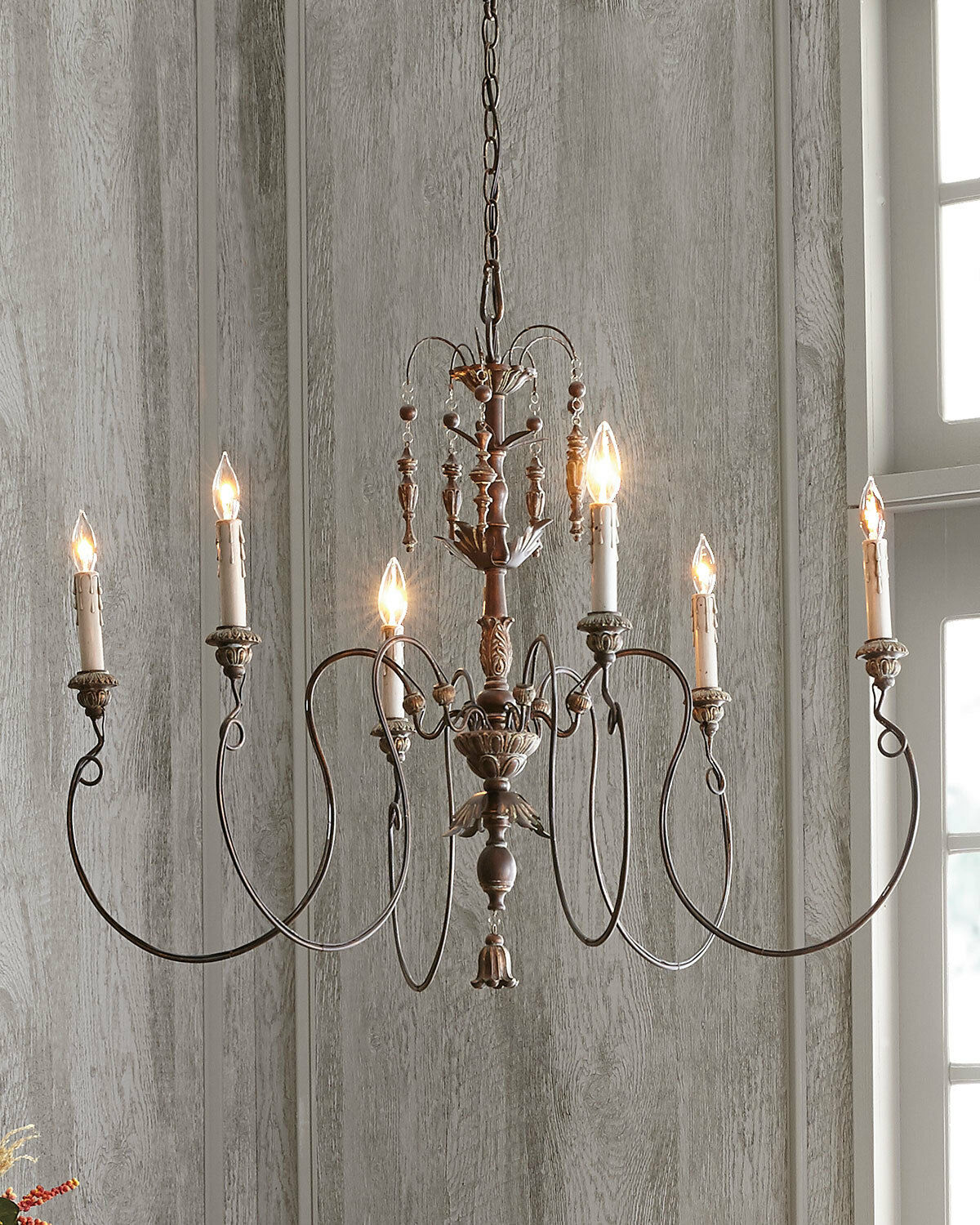 NEW Horchow French Hardware Farmhouse Vintage European Candle Chandelier  550