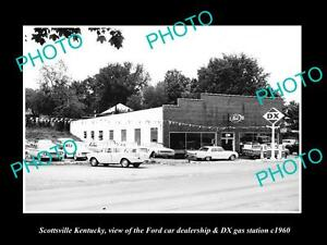 OLD-LARGE-HISTORIC-PHOTO-OF-SCOTTSVILLE-KENTUCKY-THE-FORD-CAR-DEALERSHIP-c1960
