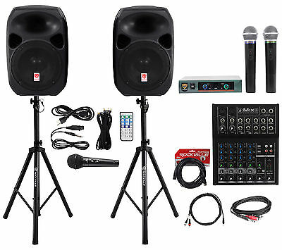 """(2) Rockville 12"""" Dual Powered PA Speakers+Mackie Mixer+(3) Mics+Stands+Cables"""
