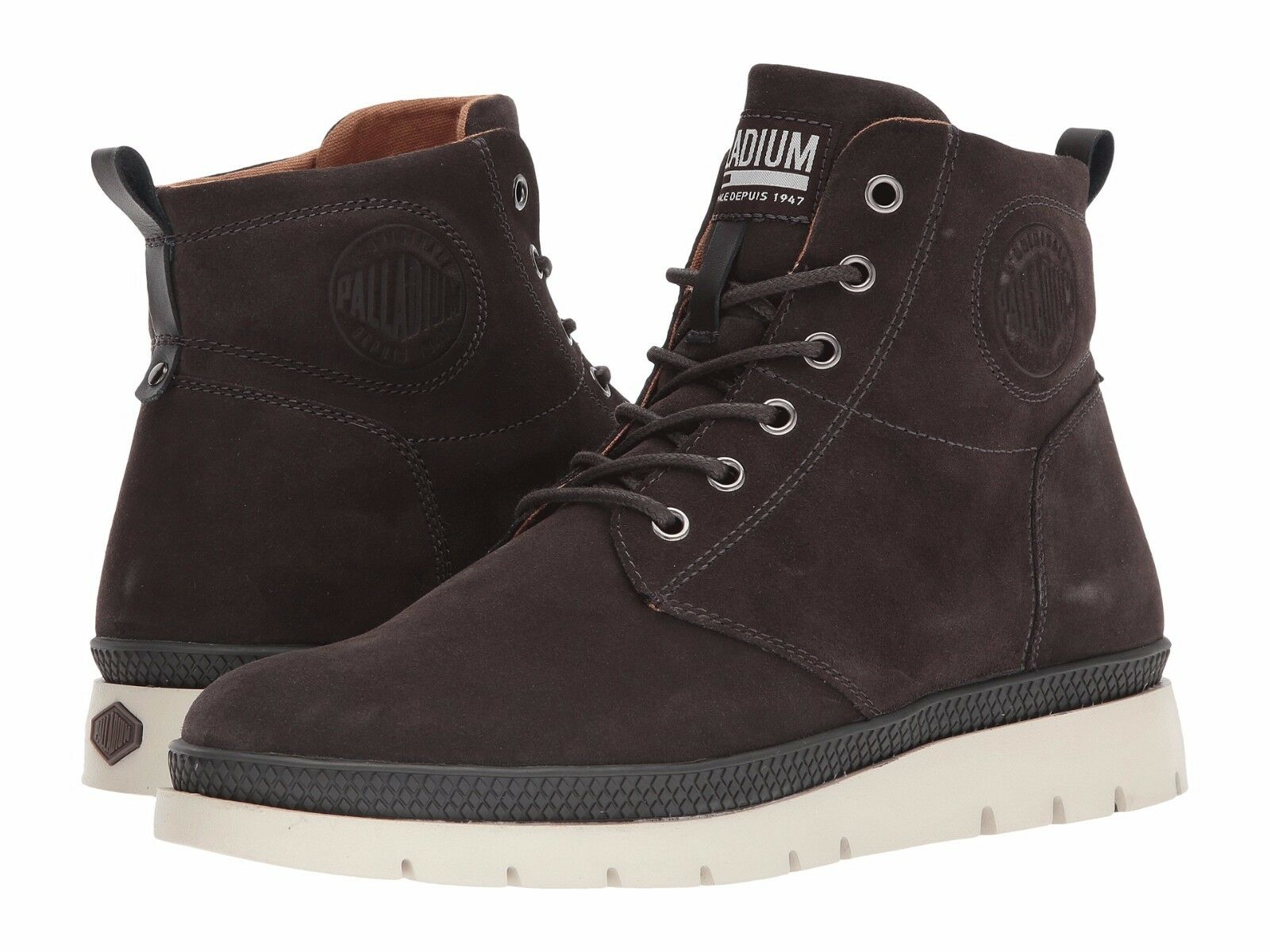 Palladium Men's Pallasider Mid Suede White Sole Casual Boots Brown Sizes 8.5-13