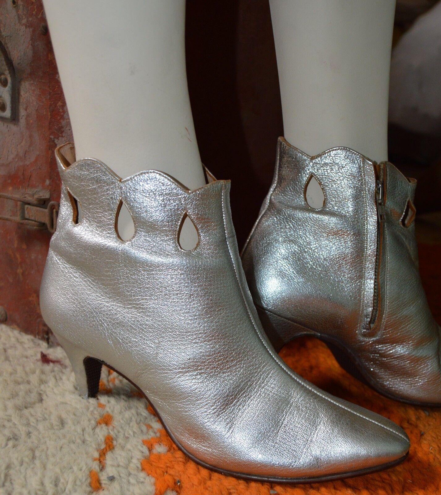 Grandes zapatos con descuento Damen Stiefelette Silber 70er TRUE VINTAGE 70s Knöchelschuhe Ankle Boots Stiefel