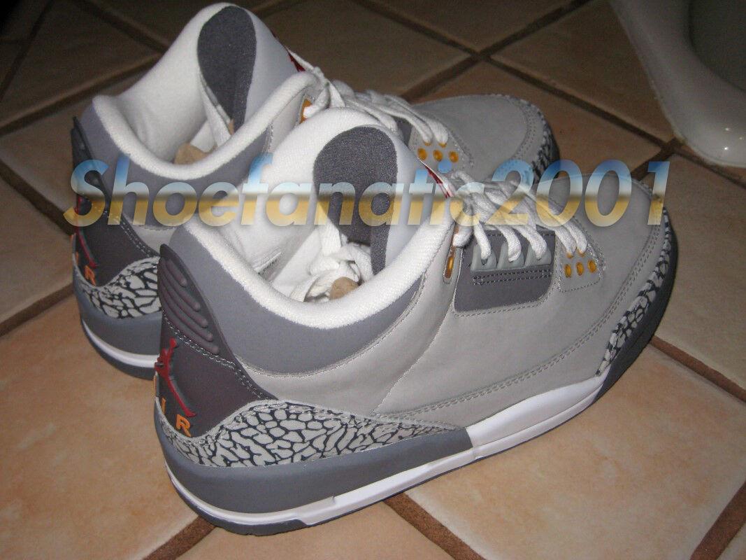 Nike Air Jordan Retro Retro Jordan 3 III LS Cement 7.5 Silver Sport Red Cool Grey Wings 8e09d8