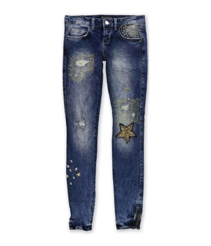 GUESS Womens Embellished Skinny Fit Jeans