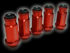 20PC 12X1.25MM 50MM EXTENDED ALUMINUM RACING CAPPED LUG NUTS RED/BLACK