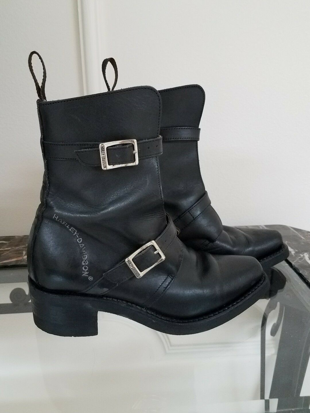 Harley Davidson Women Leather 2 Buckle Biker Boots Made in Italy size  5.5 USA