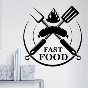 Burger Bar Wall Sticker alimentaire Restaurant Cafe Traiteur Graphics Decal Art mt9