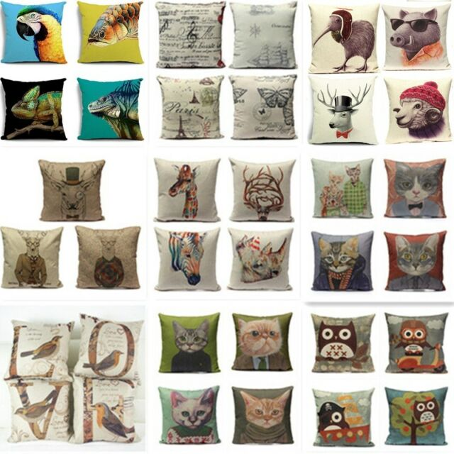 Animal Vintage Linen Cotton Cushion Cover Throw Pillow Case Sofa Home Car Decor