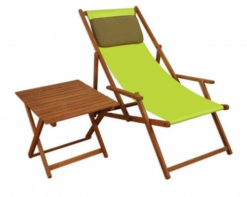 Liegestuhl Holz Buche Gartenliege Sonnenliege pistazie Kissen Tisch 10-306 TKD