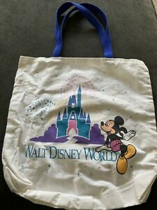 VTG-Walt-Disney-World-Tote-Bag-Mickey-Mouse-Castle-Canvas-Multicolor-1995-WDW